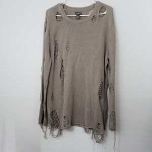 Divided Distressed Scoop Neck Sweater